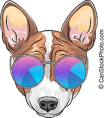vecteur, chien, hipster, sérieux, lunettes, beagle
