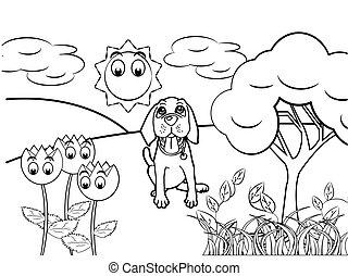 vecteur, chien, livre, dessin animé, coloration