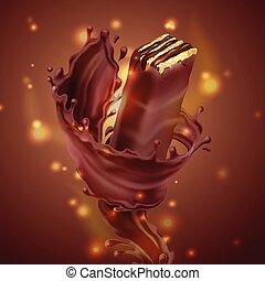 vecteur, chocolat, éclaboussure, bannière, gaufre