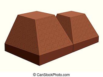 vecteur, chocolate., isolé, dessiné, blanc, arrière-plan.