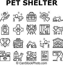 vecteur, chouchou, abri, ensemble, icônes, collection, animal