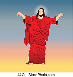vecteur, christ, illustration, jésus