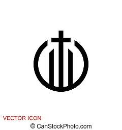 vecteur, christianisme, église, signes, symboles, icônes, religieux