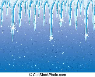 vecteur, chute neige, glaçons