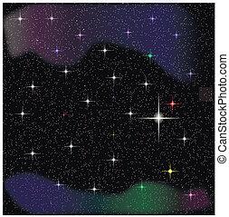 vecteur, ciel, étoiles, nuit
