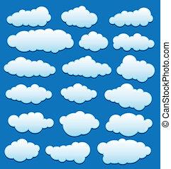 vecteur, ciel, ensemble, nuages