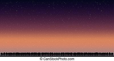 vecteur, ciel, paysage, nuit