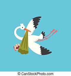 vecteur, cigogne, bébé, bannière, affiche, voler, invitation, paquet, livrer, nouveau né, douche, porter, illustration, gabarit, bébé pleure, gosse, oiseau, carte, salutation