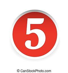 vecteur, cinq, nombre, rouges, étiquette
