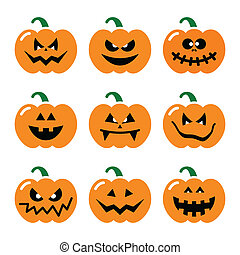 vecteur, citrouille, ensemble, halloween, icônes