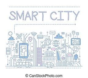 vecteur, city., intelligent, illustration