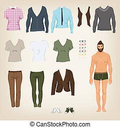 vecteur, cl, poupée, haut, papier, hipster, assortiment,...