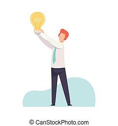 vecteur, clair, sien, homme affaires, lumière, créativité, incandescent, illustration, bon, innovation, idée, concept, tenue, brain-storming, ampoule, mains, avoir, homme