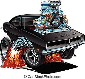 vecteur, classique, années soixante, américain, style, moteur, wheelie, muscle, dessin animé, voiture, chrome, illustration, sauter, énorme