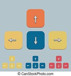vecteur, clavier, flèche, ensemble, sur, gray.