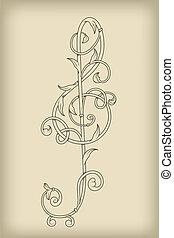 vecteur, clef, floral, g, vendange