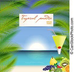 vecteur, cocktail, été, illustration, fetes
