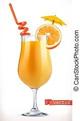 vecteur, cocktail, fruit, orange., juice., 3d, icône
