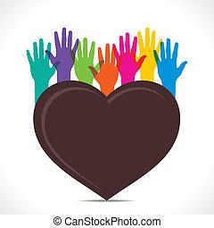 vecteur, coeur, concept, créatif, sauver