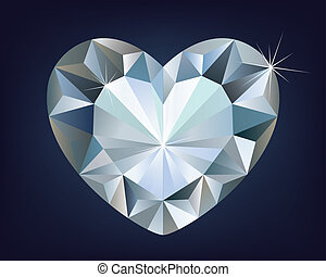 vecteur, coeur, diamant, brillant