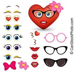vecteur, coeur, féminin, rouges, emoticon, emoji, créateur, fabricant