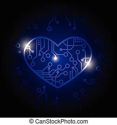 vecteur, coeur, fond, circuit, bleu sombre