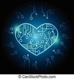 vecteur, coeur, fond, circuit, bleu