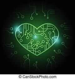 vecteur, coeur, fond, circuit, vert