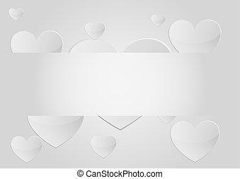 vecteur, coeur, fond, gris, bannière