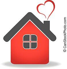 vecteur, coeur, maison, logo, conception