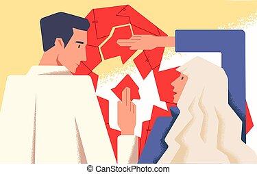 vecteur, coeur, montage, relation, fonctionnement, plat, couple, épouse, puzzle., problems., cassé, concept, thérapie, caractères, petite amie, mariage, illustration., counseling., dessin animé, mari, petit ami