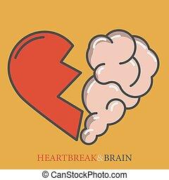 vecteur, coeur, plat, vector., solitude, pensée, interaction, moderne, relation, âme, divorce, cerveau, émotions, crève-cœur, intelligence, rationnel, entre, logo, cassé, icône, design.