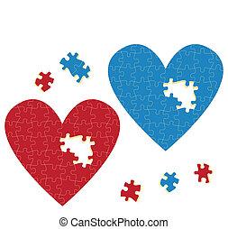 vecteur, coeur, puzzle, concept, amour