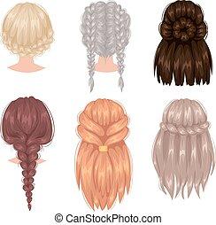 vecteur, coiffure, dos femme, vue
