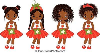 vecteur, coiffures, peu, américain, filles, africaine, divers, mignon