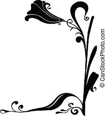 vecteur, coins, cadre, fleur, noir