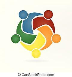 vecteur, collaboration, étreinte, gens, logo