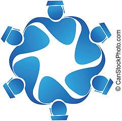 vecteur, collaboration, diplômés, icône