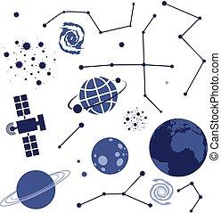 vecteur, collection, éléments, espace