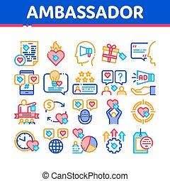 vecteur, collection, ambassadeur, icônes, ensemble, créatif