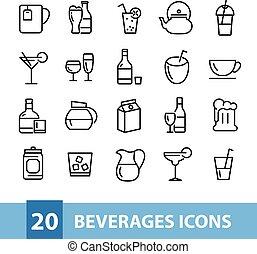 vecteur, collection, boissons, icônes