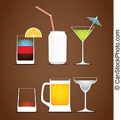 vecteur, collection, boissons