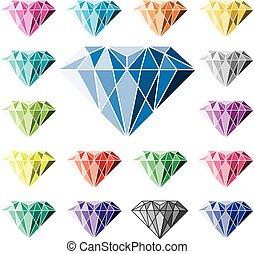 vecteur, collection, coloré, diamants