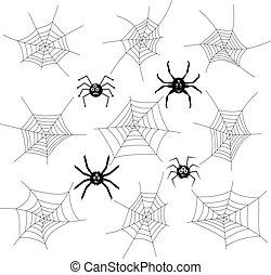 vecteur, collection, de, dessin animé, araignées, et, enchaînements