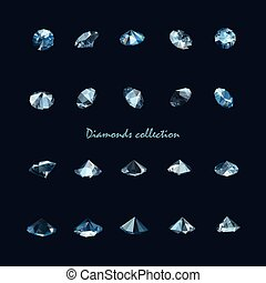 vecteur, collection, diamants