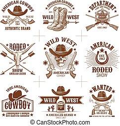 vecteur, collection, logos, 2, ouest, sauvage