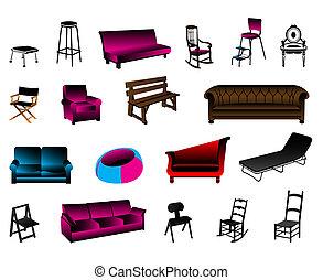 vecteur, collection, meubles