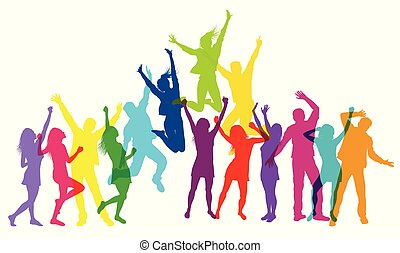 vecteur, coloré, danser., gens, illustration, sauter