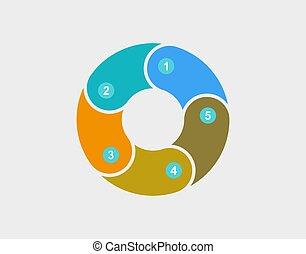vecteur, coloré, diagramme, diagramme, tarte, illustration., infographic.