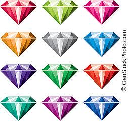 vecteur, coloré, diamants
